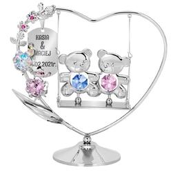 Figurka serce z huśtawką i misiami kryształy swarovski grawer