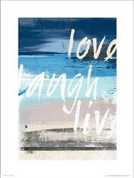 Abstract beach love laugh live - plakat premium