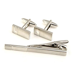 Komplet spinek srebrnych do mankietów i krawata
