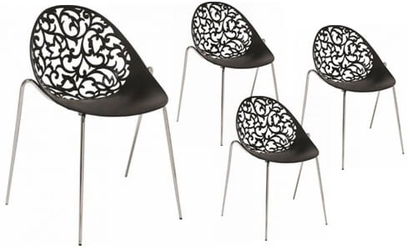 Zestaw 4 krzeseł ażurowe krzesło miss lacy czarny