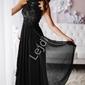 Czarna suknia wieczorowa z kwiatami 3d