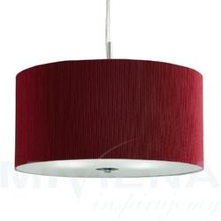 Drum lampa wisząca 3 chrom szkło czerwony abażur60