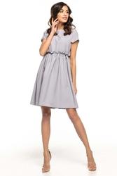Popielata lekka zwiewna sukienka z mini rękawkiem