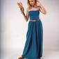 Długa sukienka z odkrytymi ramionami zielona