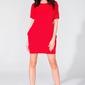 Czerwona prosta mini sukienka z kieszeniami