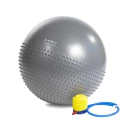 Piłka gimnastyczna masująca yb03 65 cm szara - hms - szary