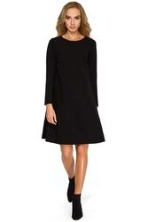 Czarna wizytowa trapezowa sukienka z szyfonową wstawką