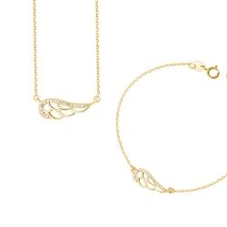komplet biżuterii skrzydełkoz pozłacanym srebrem z cyrkoniami