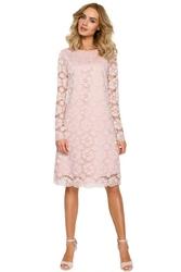 Wizytowa różowa trapezowa sukienka z koronki