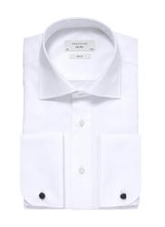 Biała koszula męska taliowana slim fit z mankietami na spinki 46