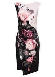 Sukienka w kwiaty bonprix czarno-jasnoróżowy w kwiaty