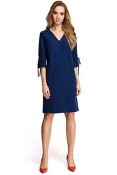 Granatowa casualowa sukienka z wiązaniem na rękawie