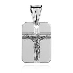 Srebrny diamentowany medalik pr.925 jezus na krzyżu