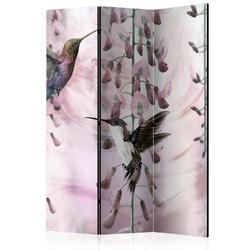 Parawan 3-częściowy - latające kolibry różowy room dividers