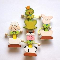 Drewniane zwierzaki na klamerce - 4 sztuki