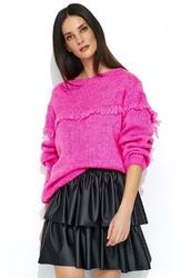 Oversizowy Różowy Sweter z Ażurowym Rękawem