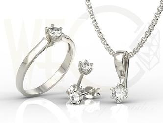 Zestaw: pierścionek, kolczyki, wisiorek z białego złota z cyrkoniami lp-8027b-c-zest