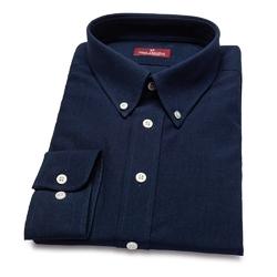 Granatowa jeansowa koszula męska van thorn z kołnierzem button down szyta na zamówienie 36