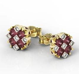 Kolczyki z żółtego złota z rubinami i diamentami jpk-56z-szt - rubin