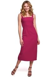 Prosta sukienka midi z wiązanymi szerokimi ramiączkami śliwkowa k046