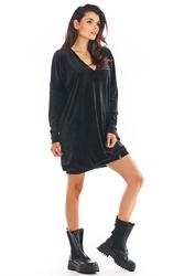 Czarna welurowa sukienka w serek ze ściągaczami