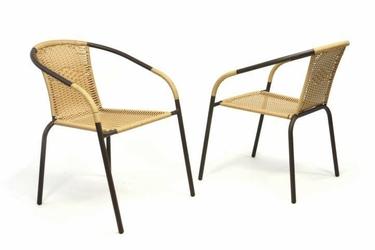 Krzesło ogrodowe rattanowe 2 szt., krzesła na balkon, taras