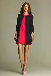 Czarny elegancki długi  żakiet z rękawem 34