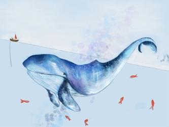 Wieloryb i rybki - plakat wymiar do wyboru: 29,7x21 cm
