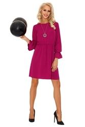 Purpurowa rozkloszowana sukienka z szerokim rękawem z falbanką