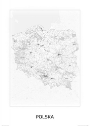 Polska, black and white - mapa