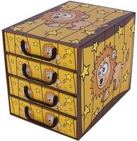 Pudełko sawanna 4 szufladki pionowe lew pojemnik