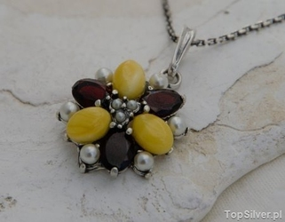 Mariano - srebrny wisior perły, granaty i bursztyny