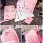 3 częściowy zestaw różowy plecak z kotkiem i rybkami + saszetka + wizytownik