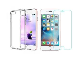 Etui silikonowe crystal 0.3mm guma do iphone 78 plus + szkło hartowane