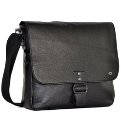 Skórzana torba na ramię unisex daag shaker 5 czarna - czarny