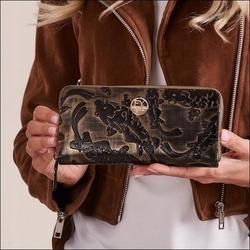 Skórzany portfel damski czarno - złoty forever young 77006 - czarny ze złotym